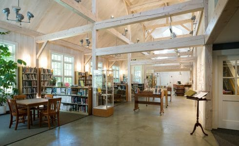 Interior of the Cornwall Library with white washed Hemlock beams