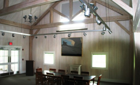 Library Theater with King Post Timber Trusses