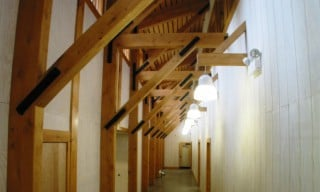 Hemlock Timber Frame with Brackets, Braces, Posts and Steel Joinery