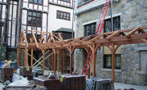 Timber Frame Walkway Under Construction