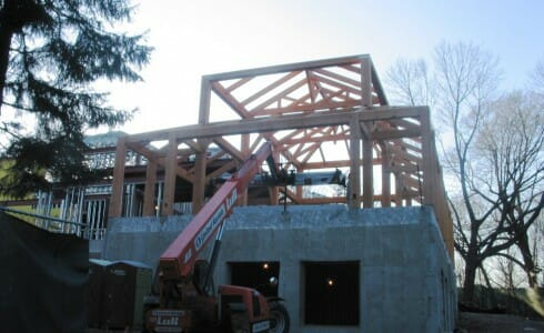 Another View of the Completed Post & Beam School Frame