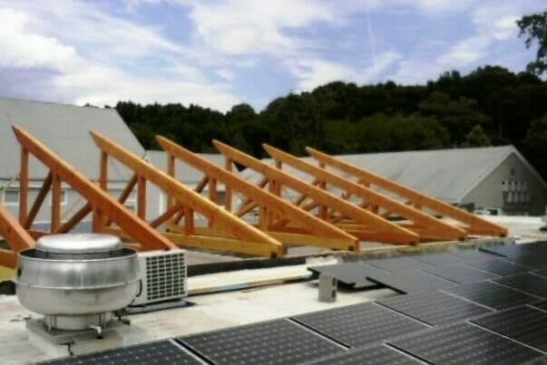 Installed Heavy Timber Trusses