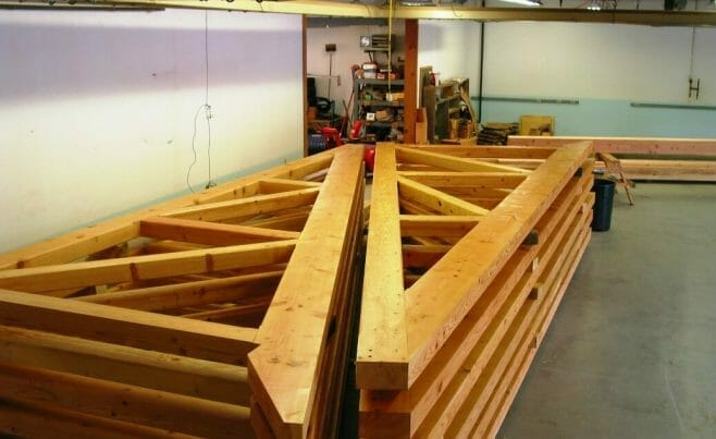 Stacked Timber Trusses Ready to Ship