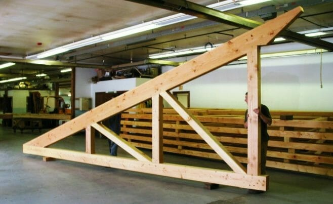 Timber Truss in the Vermont Timber Works Shop