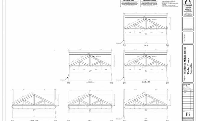 Shop Drawings of Multiple King Post Trusses for Westbrook Middle School