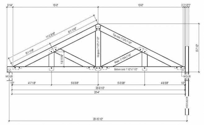 Shop Drawing of a King Post Truss