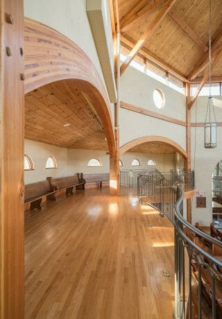 Arched Glulam Beam in the Chapel for Holy Apostles Church