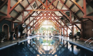 Modified Douglas Fir Hammer Beams Over Indoor Pool