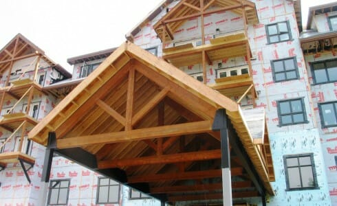 Timber & Steel Porte Cochere for Jay Peak