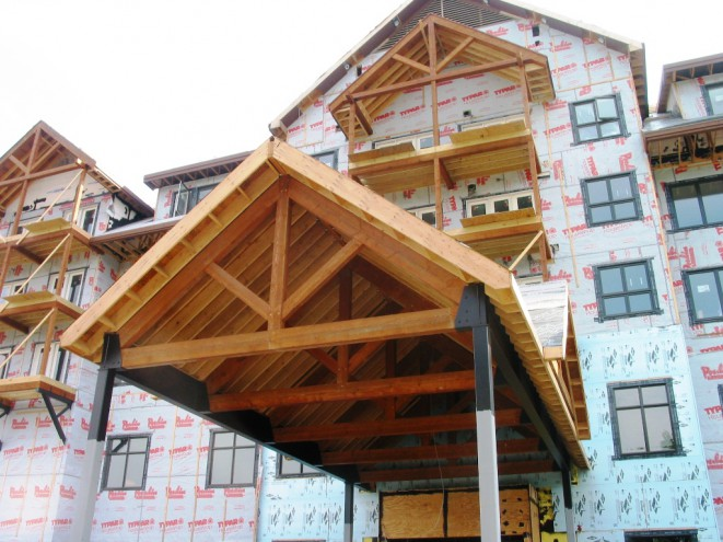 Timber Framed Porte Cochere for Jay Peak