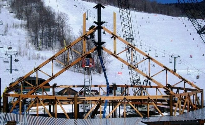 Ski Lodge Truss Raising