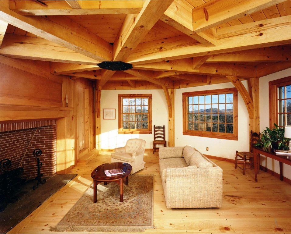 Interior of Octagon Shaped Living Room with Red Pine Ceiling Beams