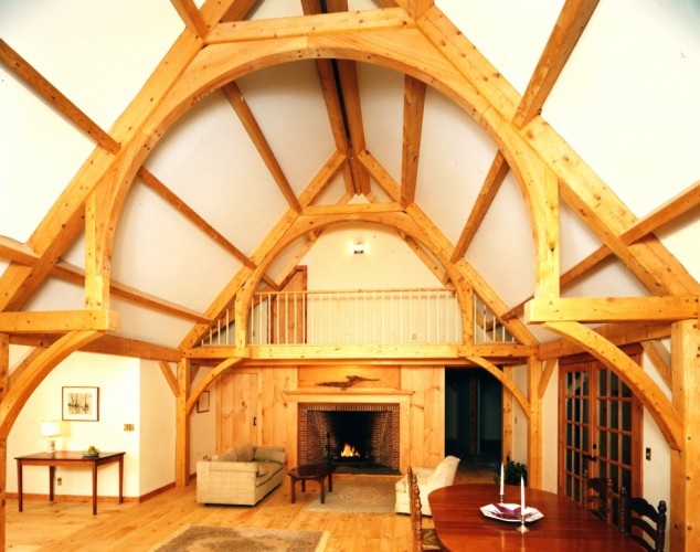 exposed wood ceiling beams interior of timber framed