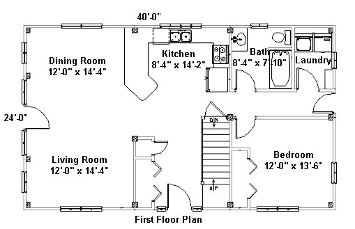 24x40 First Floor Plan for Post & Beam Home