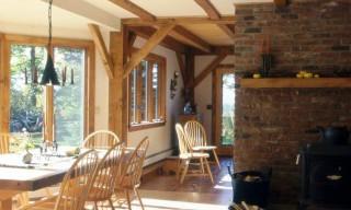 Interior View of Antique Brick, Mantel and Maple Beams