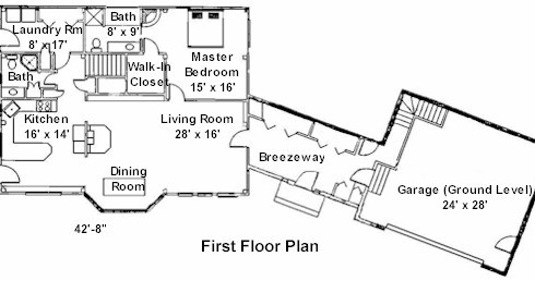 First Floor Plan of Custom Post & Beam Home
