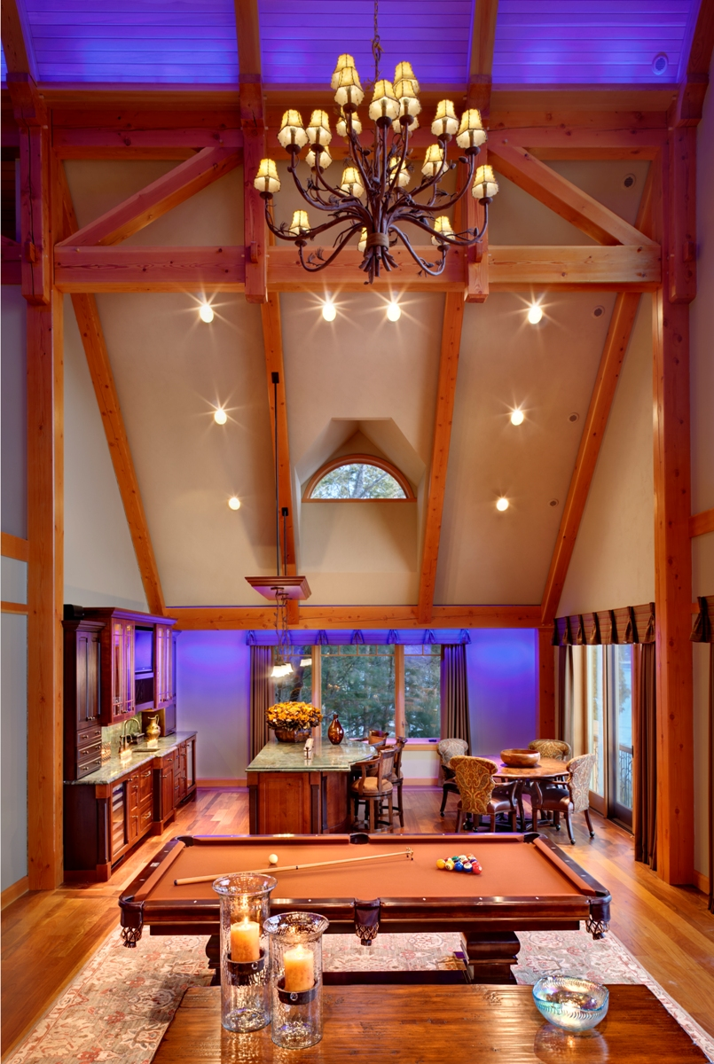 House on the lake exposed ceiling beams modern design for Interior pictures of post and beam homes