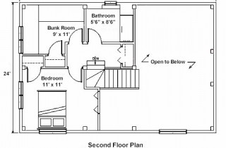 Second Floor Plan for Timber Home