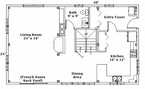 First Floor Plan for Post & Beam Home