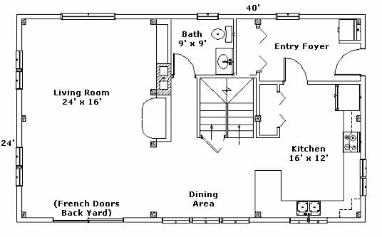 floor plan house. First Floor Plan - 24x40
