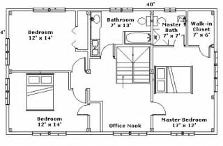 Second Floor Plan for Post & Beam Home