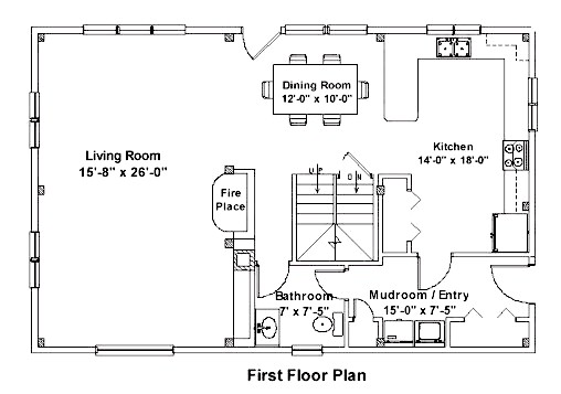Post & Beam First Floor Plan