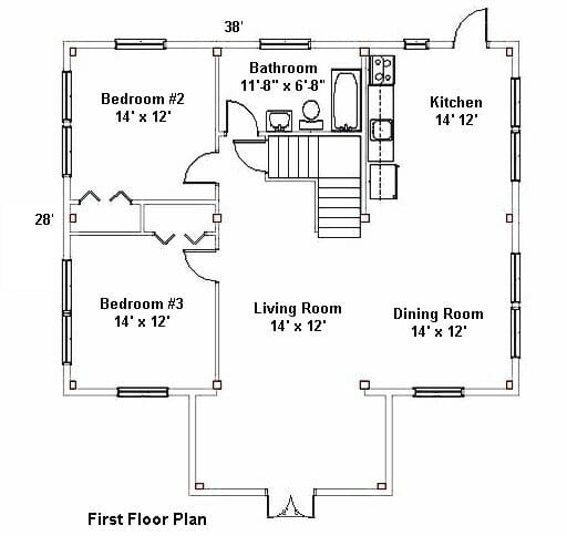 Residential floor plan post and beam home for Post and beam house plans floor plans