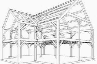 3D Design of a post and beam house