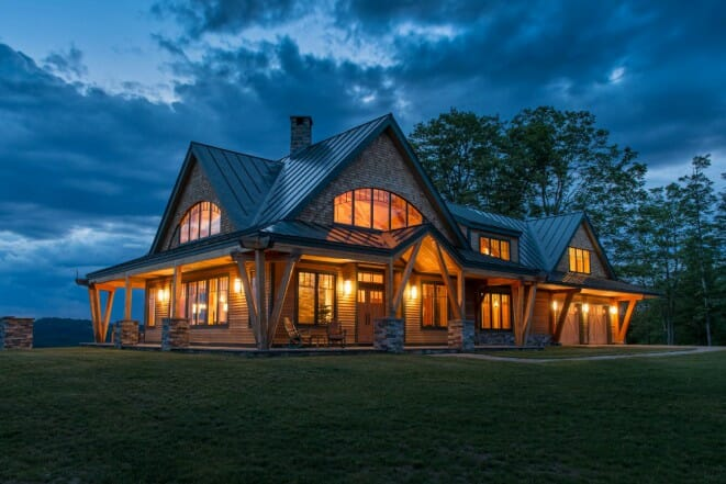 Night pasture farm chelsea vt modern timber home for Contemporary timber frame home plans