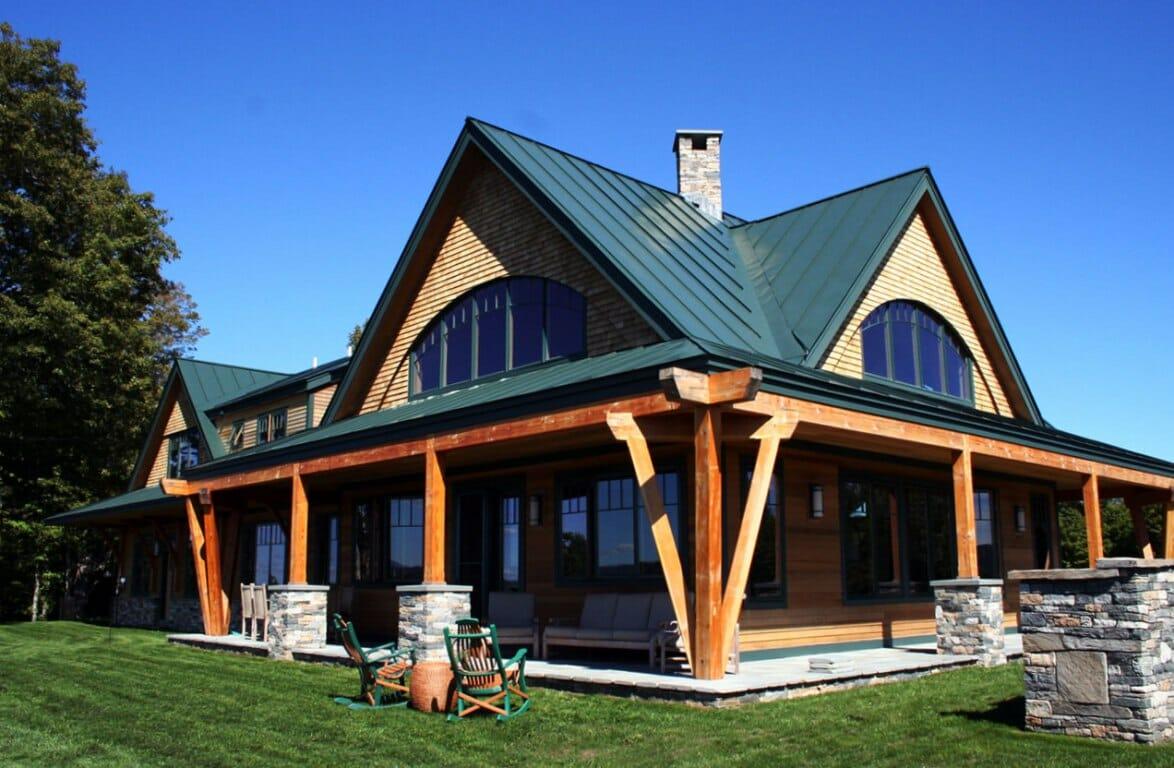 Night pasture farm chelsea vt modern timber home for What is a frame home