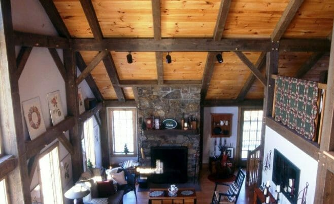 Residential Exposed Beams and Stone Fireplace