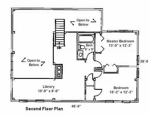 Second Floor Plan for Saltbox with Loft and Central Stair