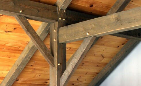 Timber Post with Brace, Rafter, Tie and Hardwood Pegs