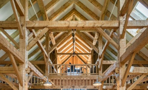 Timber Frame Hand Hewn White Pine Hay Loft at the Southern Vermont Visitors Center