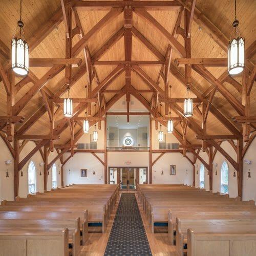 Timber Frame Hammer Beam Trusses in Saint Patrick's Church
