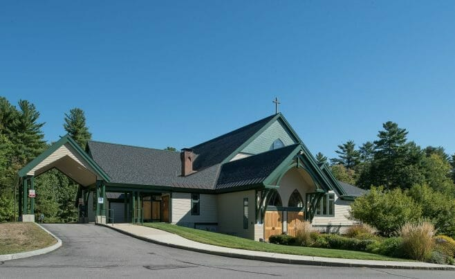Exterior Porte Cochere Entry Way of Our Lady of The Mountains Church