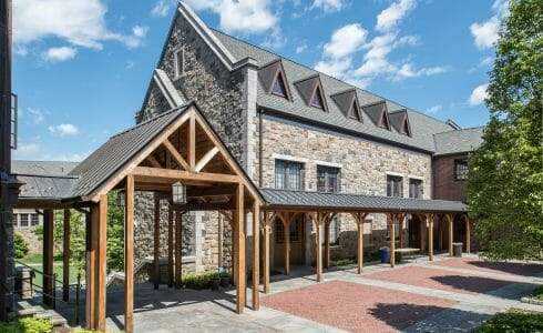 Cedar Timber Frame Covered Walkway at the Hackley School in NY