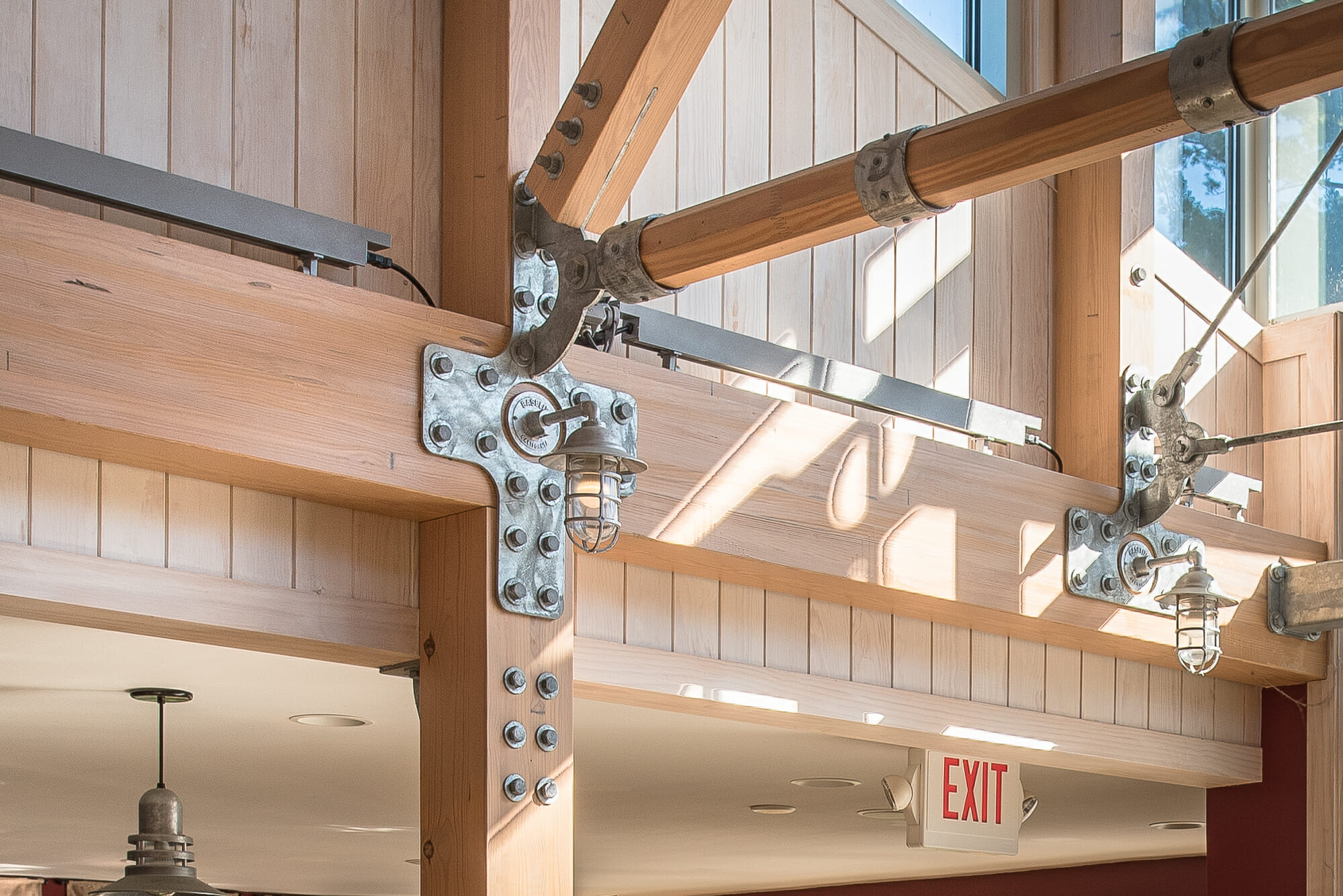 Steel Gusset Plate Detail and Glulam Beams in the 57 State Street Restaurant