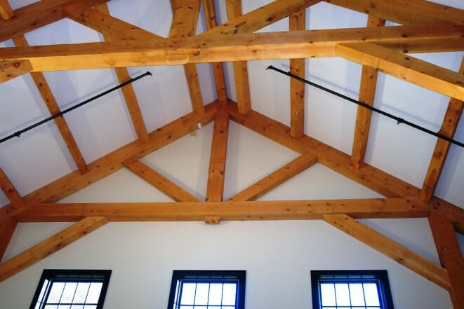 Vermont Timber Works king post truss brigham hill barn