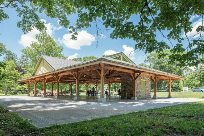 Park Picnic Pavilion with Timber Trusses and Steel at Cadwalader Park in NJ