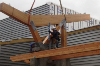 Assembly of the Glu Laminated Boomerang Beam for Timber Canopy at Nemacolin Ski Lodge