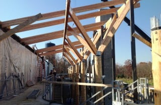 Wood Columns with Steel Joinery Under Construction