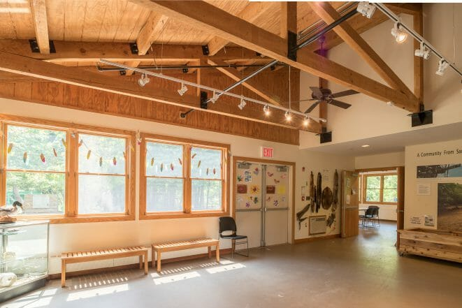 Timber Frame Classroom with Trusses at the Clay Pit Ponds Visitor Center in Staten Island, NJ