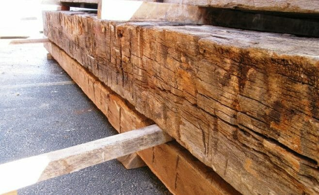 Antique Oak Timber that has been Rough Hewn
