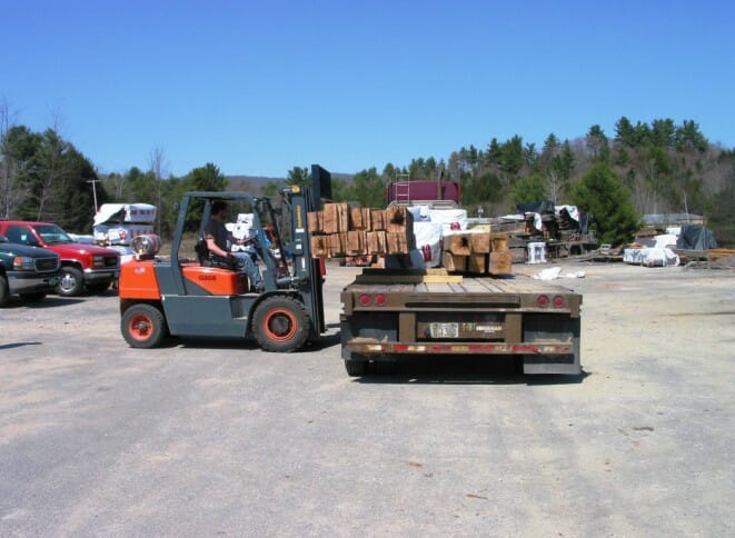 Loading Davis Residence Beams onto Truck to Ship to Assembly Location