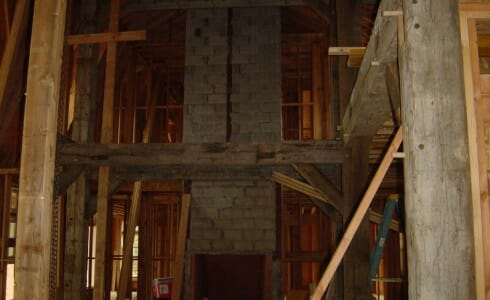 Antique Beams & Stone Fireplace