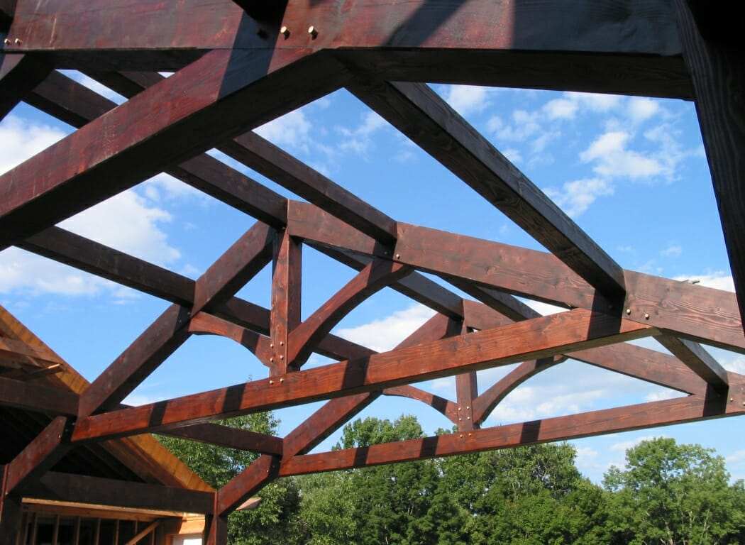 King Post Timber Trusses Dark Stained Douglas Fir Beams