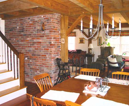 Dining Room with Exposed Beams