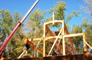 Exterior View of a Post and Beam Frame Under Construction