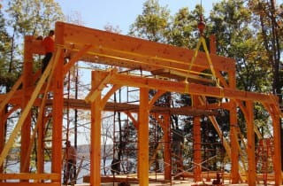 Raising Bents for a Timber Home into Place